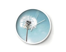 Dandelion Wall Clock, decorative clock, flower clock, floral clock, blue clock, dandelion wall art, white clock, nursery clock, wish art