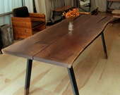 Reclaimed Live-Edge Walnut Wood Dining Table