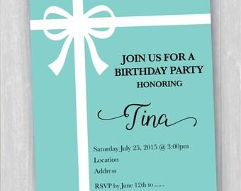 Printable Tiffany Inspired Birthday Invitation