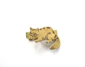 raccoon tie clip . raccoon tie bar . golden brass tie clip . mens accessories