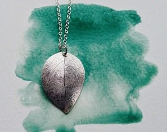 Large Silver Leaf Pendant