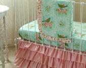 Turquoise Mockingbird Bumperless Baby Bedding in Pink Beautiful Baby Girl Nursery Set