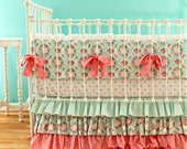 Pink and Aqua Crib Bedding Set - 3-Piece Baby Girl Bedding with Bumper, Sheet, and Skirt for a Vintage Inspired, Shabby Chic, Custom Nursery