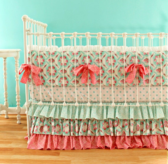 Vintage Inspired Classic Soft Pink Nursery: Pink And Aqua Crib Bedding Set 3-Piece Baby Girl Bedding