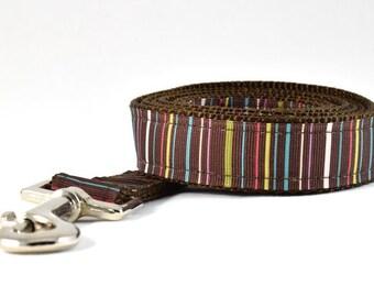 """Striped Dog Leash,Brown Striped Dog Leash,Brown Dog Leash,Boy Dog Leash,1"""" Wide,6ft."""