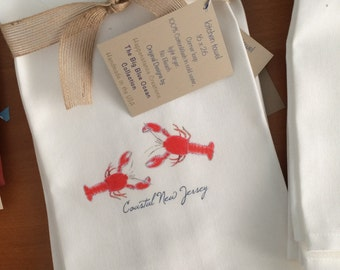 Lobster, Heron, Kitchen Towel , Personalized New Jersey, With State Option, Cotton Kitchen Gift, Beach Gift, Beach House