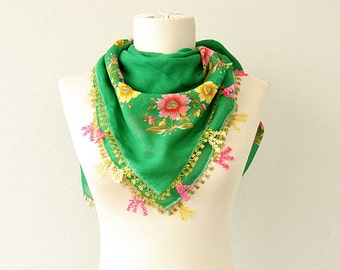 Lace scarf Needlework Cotton gauze summer scarf Kelly green square scarf turkish lacework Yemeni handmade oya floral scarf Gift for her