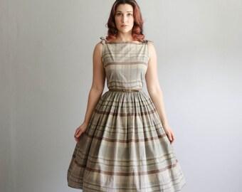 50s Plaid Dress - Vintage 1950s Dress - Stay Neutral Plaid Dress