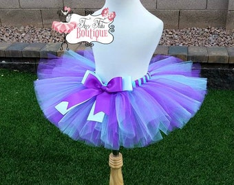 AQUA PURPLE- Purple and Aqua, tutu with hairbow:  Newborn-5T