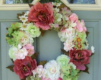 Spring/Summer Wreath -  READY TO SHIP - Spring/Summer Door Wreath