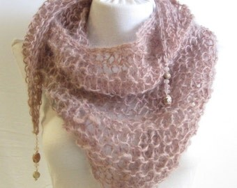 Rose Hand Knit Scarf / Handspun Wool Scarf / Triangle Scarf / Scarf with Gemstones / Rose Pink / Hand Dyed Scarf