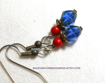 Sapphire Blue and Cherry Red Czech Earrings Surgical Steel Earwires