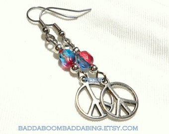 Peace Charm Earrings Multi Color Beaded  Surgical Steel French Hooks