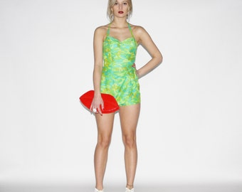 Vintage 1950s Pinup Swimsuit -   50s Bombshell Bathing Suit - The Summer Time  Bathingsuit  - WB306