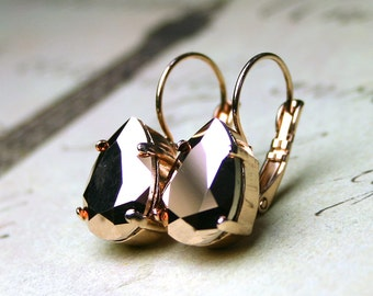 Rose Gold Leverback Crystal Earrings - Gorgeous Swarovski Crystal Teardrop Stones in Rose Gold with Rose Gold Leverbacks