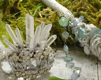 Made to order Tiny Fairy Crown,  Vintage Rhinestone Crown, Santos crown, Elven wedding, Forest Wedding, Fairy Wedding
