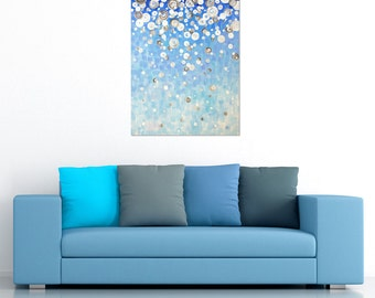 Abstract Blue Painting, First Snow, 22x28 canvas, Art for Home and Office