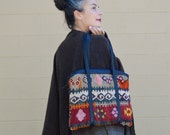 STUNNING Vintage KILIM Turkish Rug LEATHER Purse Shoulder Bag Tote