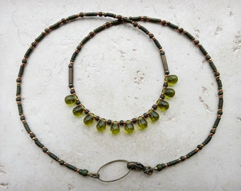Dainty Olive Green Necklace, rustic Bohemian everyday beaded jewelry, layering  necklace with small pine green glass drops