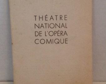 Pelleas et Melisande Opera Book 1950 Paris France Theatre National de l'Opera Comique