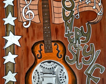 Painting Resonator Dobro Guitar Music Country Style By Paleface