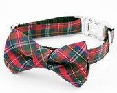 Bow Tie Dog Collar - Red and Blue Tartan