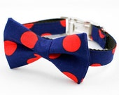 Bow Tie Dog Collar - Navy and Red Dog