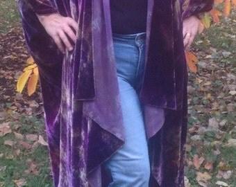 Shibori dyed silk velvet cocoon/opera coat