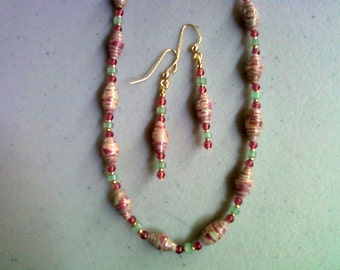 Pink and Green Necklace and Earrings (0040)