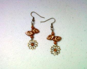 Brown Leaf and Flower Earrings (0825)
