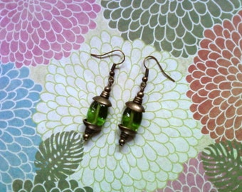 Green and Brass Boho Earrings (1723)