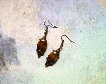 Caramel Brown Swirl Earrings (1716)