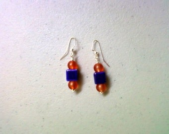 Royal Blue and Orange Earrings (1032)