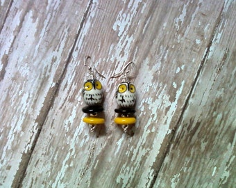 Black, Yellow, Gray and White Owl Earrings (1694)