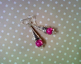 Pink and Silver Earrings (2067)
