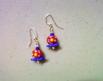 Orange and Royal Blue Flower Earrings (0946)
