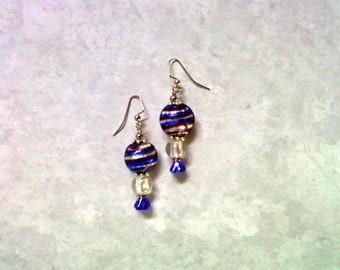 Patriotic Red, White and Blue Earrings (2092)