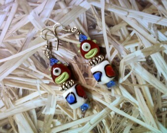 Red, Green, Blue and White Cyclops Alien Earrings (1581)