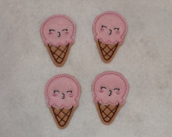 Feltie Machine Embroidered Hand made (4) Felt Ice cream Cone CUT Embellishments / appliques