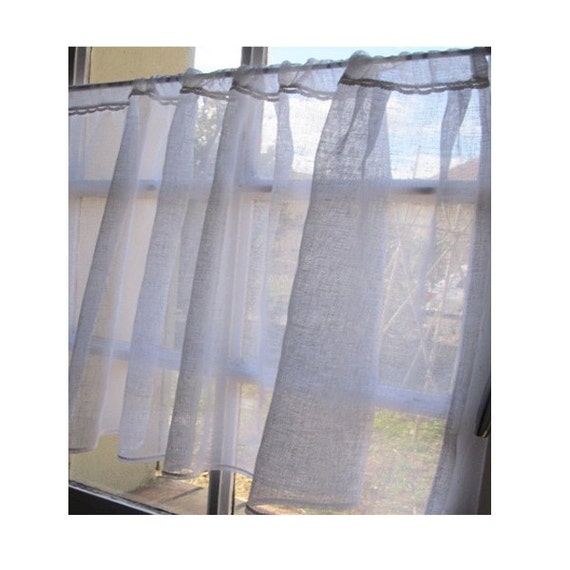 Kitchen Window Cafe Curtains: Custom Sheer Window Curtain White Linen Cafe Curtain French