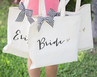 Wedding Bags for Bridal Party, Bridesmaids Gifts Canvas Tote Bag for Bride & Friends, Stripes Glitter Bridal Shower Gifts  ( Item - BBR300)