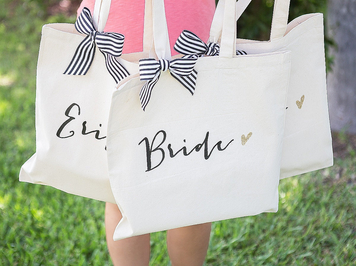 Wedding Gifts From Bridesmaids: Wedding Bags For Bridal Party Bridesmaids Gifts Canvas Tote