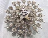 Eastern Star Prong Set Rhinestone Silver Pin Brooch