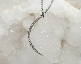 Pave Diamond Crescent Moon Necklace, Sterling Silver, Genuine Diamond Jewelry