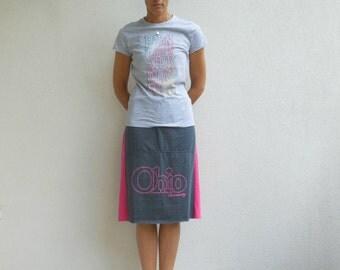 Ohio University T-Shirt Skirt Womens Tee Skirt Pink Gray Drawstring Cotton Skirt Fashion Skirt Handmade Skirt Fall Autumn ohzie