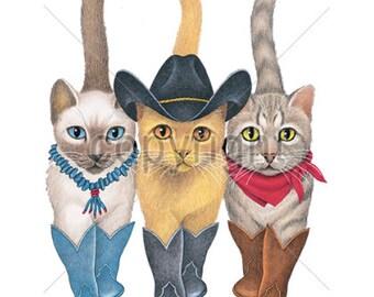Three Western Cats Ladies Short Sleeve T Shirt  4257