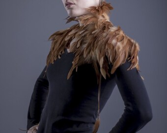 Tan feather Shoulder piece / Light brown feather shrug / High collar feather shoulder wrap / Edgy fashion shoulder accessories / Burning man