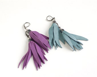 Set of two pairs Suede leather tassel earrings in smoky blue and bright violet