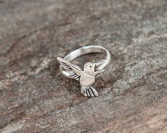 Humming-bird ring sterling silver / bird / 925 / nature / animal