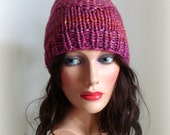 Women Red Hat - Hand Knitting - Knitted wool silk hat - Rainbow Red Pink Fuchsia Violet Printed - Hand Knit Hat - Womens hat